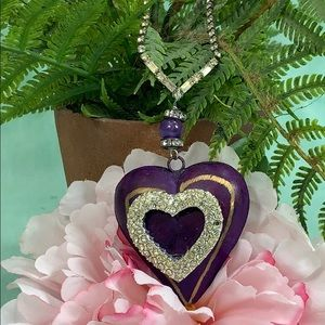 ✨Adorned Crown Purple Heart rhinestone necklace
